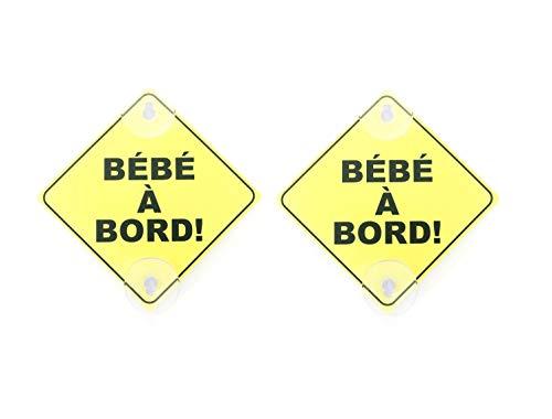 Lot de 2 Panneaux Signalétique français Bébé à Bord Avec Deux Ventouses Voiture Auto Sécurité Bébé Enfants Amovible