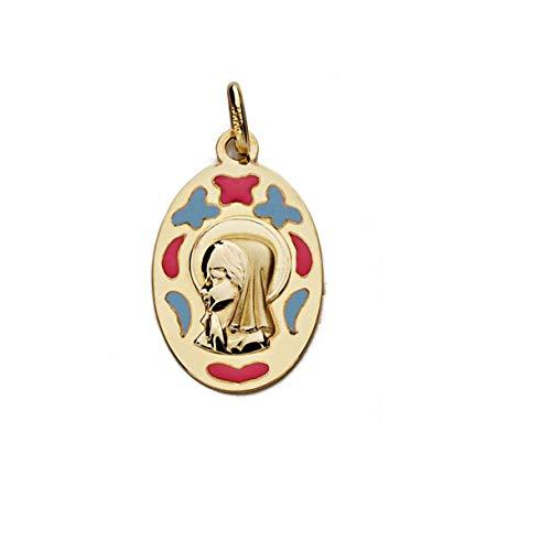 Medalla Oro 9K Virgen Niña 21mm. Oval Lisa Formas Esmaltadas Rosa Azul Mariposas Corazón - Personalizable - Grabación Incluida En El Precio