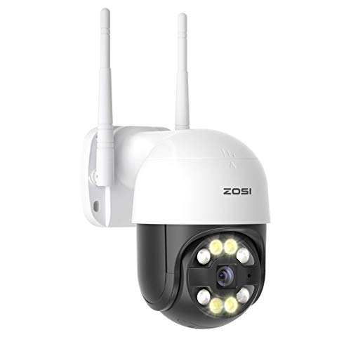 ZOSI 1080P Kabellos Außen PTZ Dome Überwachungskamera, 5X Digital Zoom, Automatisch Personenerkennung, Warnton und Flutlicht Alarm