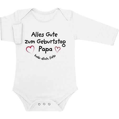Shirtgeil Alles Gute Zum Geburtstag Papa Hab Dich Lieb Baby Langarm Body 0-3 Monate Weiß