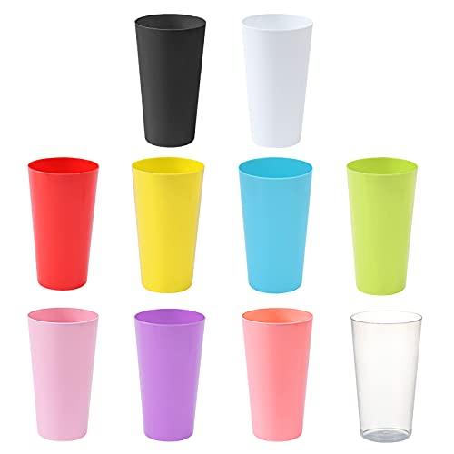 Juego de Vasos de Plástico Reutilizables de Color Vasos de Plástico Juego de Vasos de Camping Vasos de Plástico Reutilizables Apilables Taza Agua de Plástico Duradera para Fiestas de Color 10 Piezas