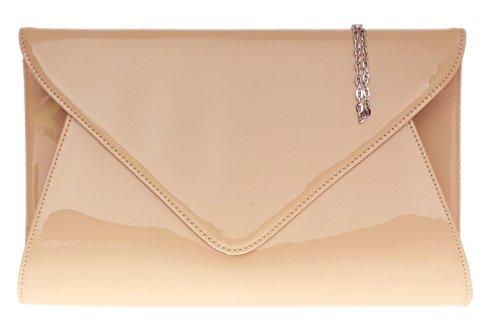 Girly Handbags Designer Lack Leder Ebene Umschlag Abend Handtasche Damen