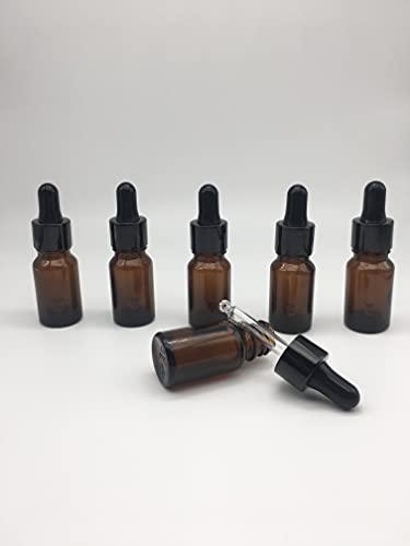 Nalunox- Frasco Cuentagotas de Cristal Capacidad 10ml- Botella con Pipeta de Cristal 6 unidades-Recipiente de Vidrio Color Ambar
