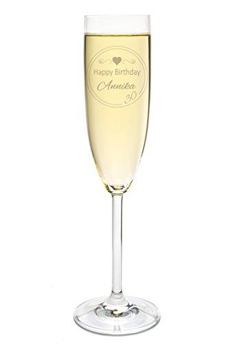 LEONARDO Sektglas mit Gravur des Namens zum Geburtstag Motiv Birthday Sekt-Glas graviert Geschenkidee