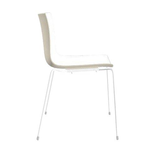 arper Catifa 46 0251 Stuhl zweifarbig Gestell weiß, weiß Elfenbein Außenschale glänzend innen matt Gestell weiß matt V12