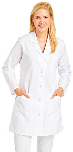 clinicfashion 10310027 Damen Mantel weiß, Reverskragen, Baumwolle, Größe 50