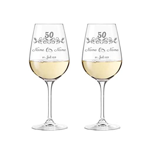 KS Laserdesign Leonardo Weingläser Goldene Hochzeit im Set mit Gravur - Hochzeit, Jubiläum, Geschenke, Hochzeitsgeschenk, Geschenkidee zum 50. jährigen Jubiläum