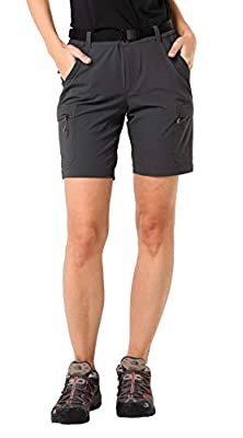 MIER Women's Stretchy Hiking Shorts Quick Dry Cargo Shorts with 6 Pockets, Water Resistant and Lightweight, Graphite Grey, 14(Exclude Belt