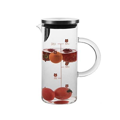 QAX Jarra de cristal con tapa de acero inoxidable, jarra de agua para agua caliente y fría, zumo de té helado, bebidas caseras, oso