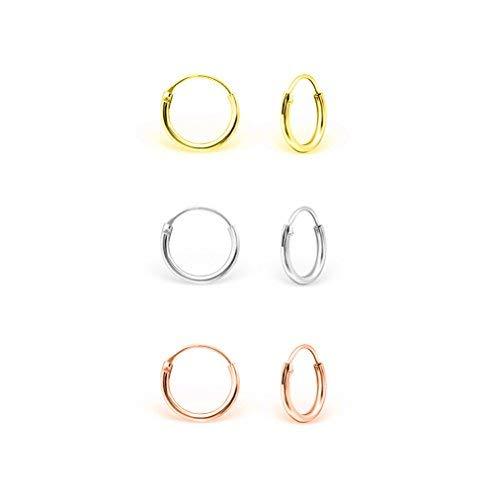 DTPsilver - Damen - Klein Creolen - 3 Paar Ohrringe 925 Sterling Silber, Gelb Vergoldet und Rosen-Gold überzogen - Helix/Tragus/Knorpel - Dicke 1.5 mm - Durchmesser 10 mm