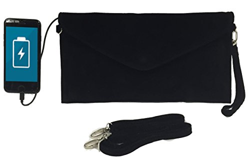 Womens Envelope Charging Clutch Bag/Wristlet; Compatible with All Phones - 2,600mAh Battery Will Give Your Phone A Full Recharge - Black Velvet