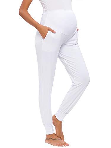 Love2Mi Pantalones de ocio para mujeres embarazadas, mallas premamás, pantalones cómodos elásticos para correr., Blanco, M