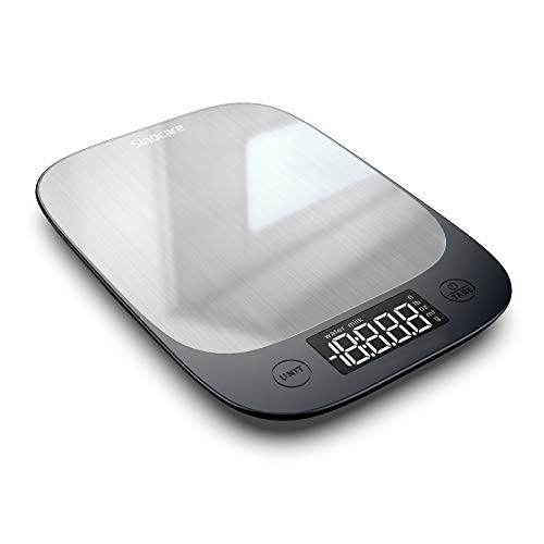 sinocare Elektronische Waage, Digitale Küchenwaage mit LED-Anzeige, Gewicht bis zu 5 kg (1-g-genau), Edelstahl