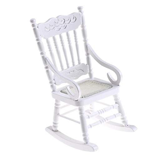 Accesorio de casa de muñecas, 1/12 casa de muñecas mini silla columpio muebles modelo sala de estar accesorios decoración - blanco