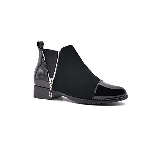 Angkorly - Damskie buty botki - kozaki jeździeckie Kavalier - rowerzysta - spódnica - zamek błyskawiczny - złoty - lakierowany obcas blokowy 3 cm, czarny 3, 41 EU