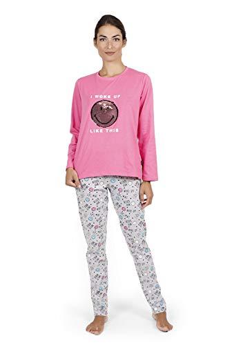 Smiley Pijama Manga Larga I Woke Up para Mujer