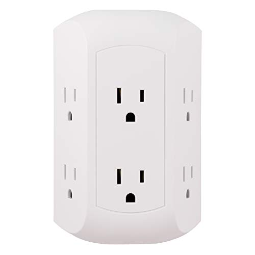 GE Pro 6-Outlet Extender, Surge Protector, Spaced Wall Tap, Side-Access, 3-Prong Power Strip, Charging Station, 560 Joules, UL Listed, White, 43648