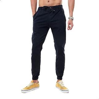 Andora Cotton Drawstring Elastic Waist Slim-Fit Gabardine Pants for Men