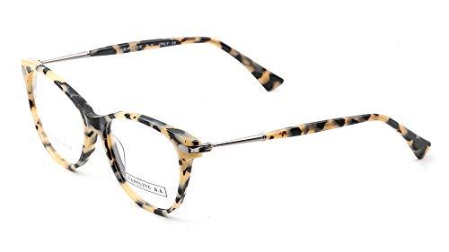 CAROLINE B.K. CBK139 montura de gafas sin graduar con lentes transparentes sin prescripción estilo VINTAGE en ACETATO para MUJER (Marrón Claro Tortuga)