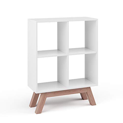 Vicco Bücherregal Tetra 4 Fächer Raumteiler Standregal Aktenregal Aufbewahrung (Weiß + Fuß Teak)
