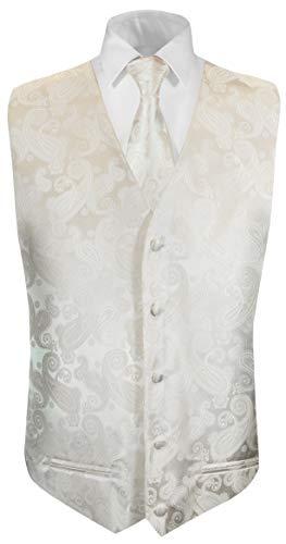 Paul Malone Hochzeitsweste + Krawatte Ivory Elfenbein Paisley - Bräutigam Hochzeit Anzug Weste Gr. 50 S
