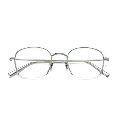 Gyhjuik Ronde metalen halfronde brilmontuur met platte spiegel, dunne lijst, vintage/stijl-rek, voor dames en heren