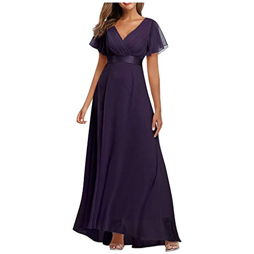 Why Should You Buy Womens Short Sleeve V-Neck Sexy Maxi Dress High Waist Solid Elastic Tulle Wedding...