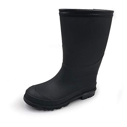 AMOJI Regenstiefel Regen Stiefel Schuhe Jungen Kinder Babys Kleinkinder Mädchen Schonen Leicht Wasserdicht Schwarz 23 cm Größe 37 EU