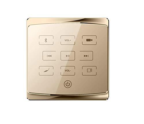 WUHUAROU Smart Home Audio 2/4 Canales Mini Amplificador Bluetooth De Tecla Táctil En La Pared con USB, TF, Control Remoto Inalámbrico, Potencia De 2 A 8 Altavoces (Color : Gold, Size : 4x25W)