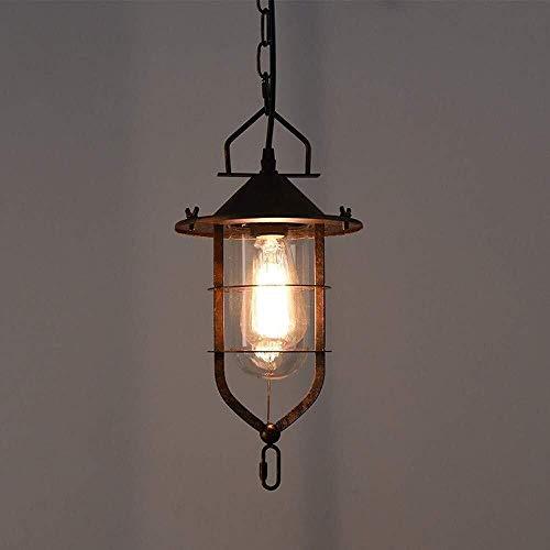 candelabro DBL Retro Retro Jaula de pájaro luz lámpara araña Industrial Vidrio Techo luz Vintage Hierro Metal lámpara Colgante con Acabado del Club