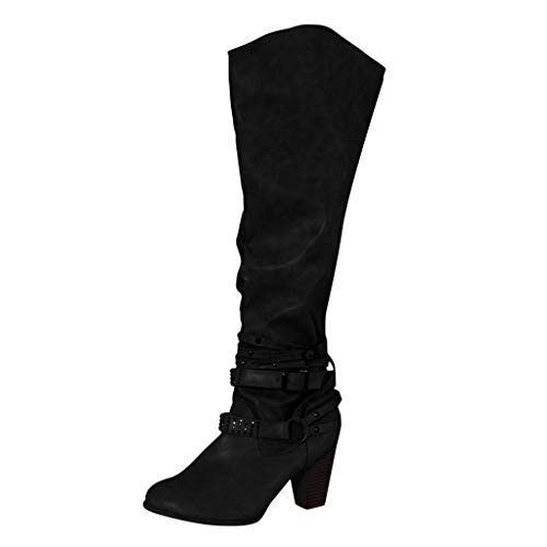 Allence Damen Herbst Winter Elegant Beiläufig Flache Schuhe Knie Stiefel Slouchy Schneestiefel Süß Lange Stiefel Gr.35-43