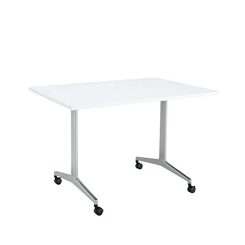コクヨ ミーティングテーブル JUTO MT-JTT127S81MAW-C 角形天板 T字脚 スクエアコーナー 幅120×奥行75cm 天板ホワイト/脚フラットシルバー キャスター付