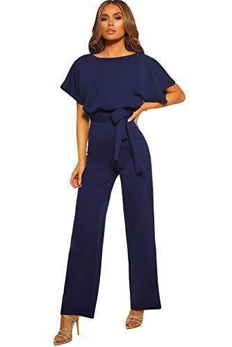emmarcon Tuta Lunga Jumpsuit Elegante Abito Cerimonia Donna Maniche Corte a pipistrello-Blue-IT44-46/L