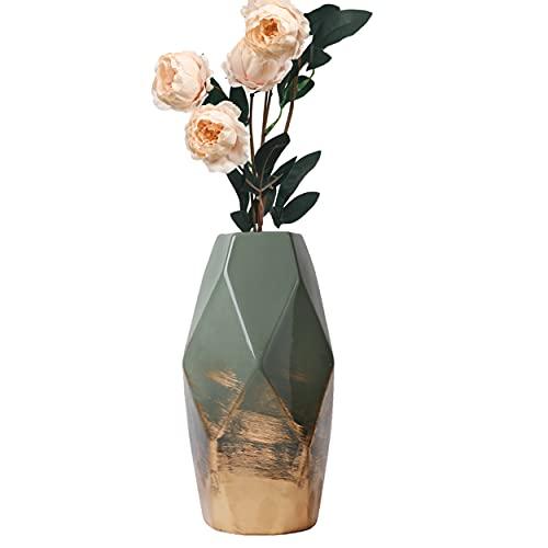 TERESA'S COLLECTIONS Grüne Golde Vase Keramik Vase Kleine Blumenvase Moderne...