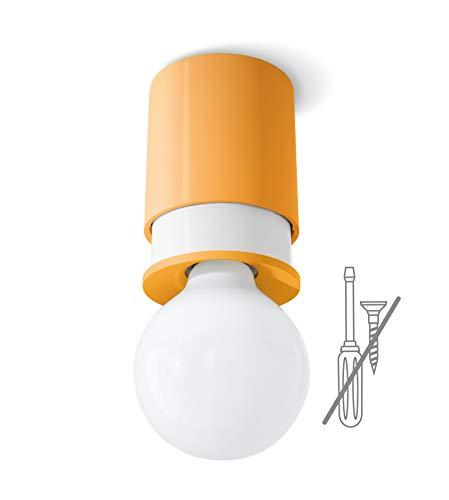 Twister Colours, orange; einfache Montage. Keine Schrauben, ein Haken genügt. Patentiert. Decken- und Wandleuchte, E27
