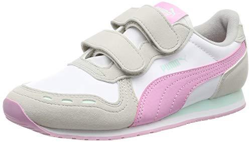 Puma Cabana Racer SL V PS, Unisex-Kinder Sneakers, Weiß (Puma White-Gray Violet-Pale Pink), 35 EU (2.5 UK)