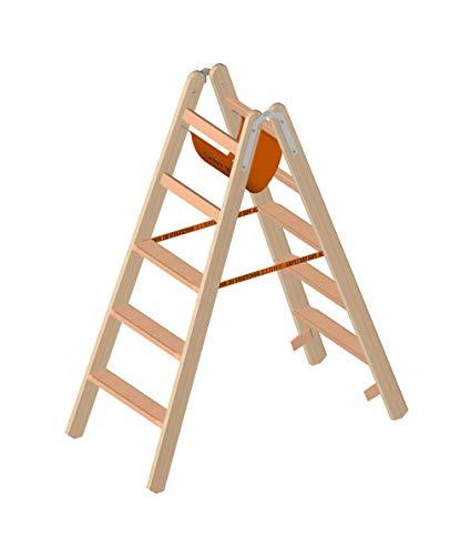 Layher Holzstehleiter - mit 5 Stufen; Holzleiter mit 80mm breiten Stufen, beidseitig begehbar; Länge 1,37 m