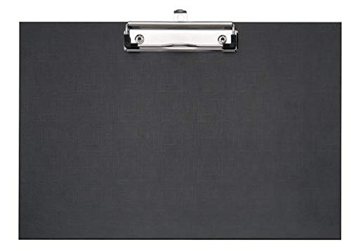 VELOFLEX 4817980 Schreibplatte DIN A4 Querformat, PP-kaschiert, Leinenstruktur, Metallklemme mit Hängeöse, Schwarz, 1 Stück