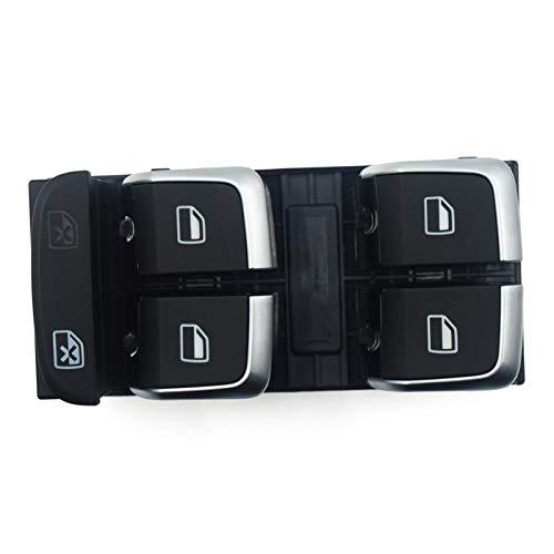JOMOSIN QICHE25 Interruptor de llave de acceso 3 piezas botón de ventana 8K0959851A 8K0 959 855A 4GD959855 8KD 959 855 para A5 A4 Allroad B8 Q5 Automotive (Color: interruptor de ventana cromada)