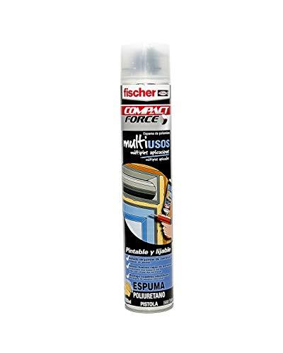 fischer - Espuma poliuretano PU Multiusos Pistola (bote de 750 ml) en spray, trabajos de construcción y aislamientos, tubos de instalaciones de calefacción y sanitarias, endurecimiento rápido