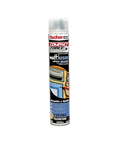 fischer - Espuma poliuretano para pistola, sellado y aislamiento de paredes, Bote 750 ml Amarillo