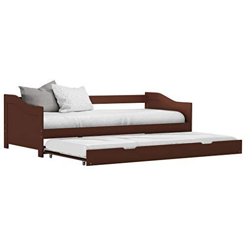 Lechnical Divano letto singolo con struttura letto estraibile salvaspazio per cameretta per bambini, struttura divano letto estraibile con ruote(senza materasso),legno di pino, 90x200cm, Marrone scuro