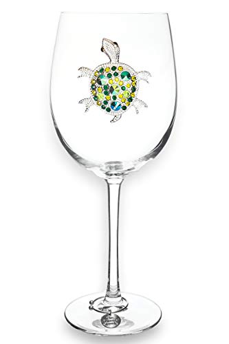 THE QUEENS' JEWELS Turtle Jeweled Stemmed Wine Glass - Unique Gift for Women, Birthday, Cute, Fun, Beach, Not Painted, Decorated, Bling, Bedazzled, Rhinestone