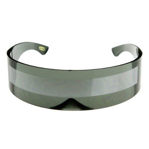 zeroUV - 80s Futuristic Cyclops Cyberpunk Visor Sunglasses with Semi Translucent Mirrored Lens (Smoke/Silver)