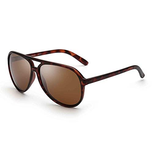 JIM HALO Polarizadas Gafas de Sol Hombre Mujer Oversize Plástico Conduciendo Anteojos(Marco Tortuga/Lente Marrón Polarizado)