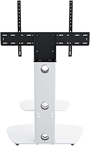 TELEVISOR Soporte con Soporte de soplete para 32'- 65' + TV en Blanco con rectángulo Redondeado de Vidrio Blanco (Color : White)