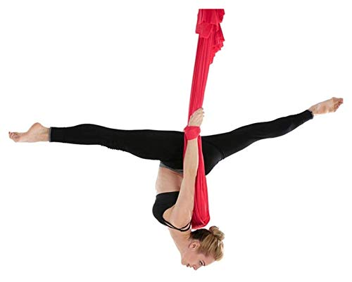 SHUHANG Sensory Swing Swing - Hamaca de seda para terapia de interior, para yoga aéreo, antigravedad (color: rojo, tamaño: 600 x 280 cm)