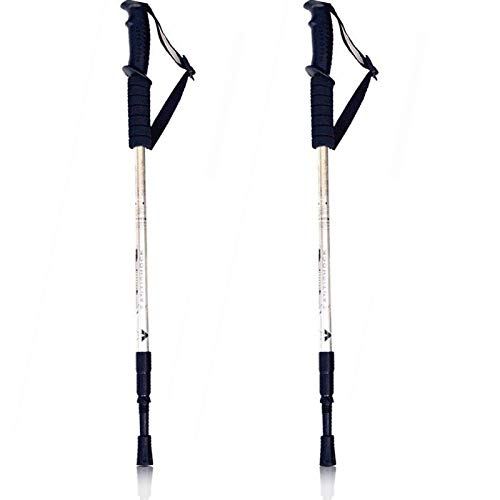 Bastoni da passeggio telescopici regolabili da 65 a 135 cm, di alta qualità, super leggeri, ammortizzati, per uomo e donna, colore a scelta (argento)