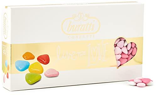 Buratti Confetti Dragées au Chocolat Avec des Mini Coeurs Ombres Roses 1 Kg