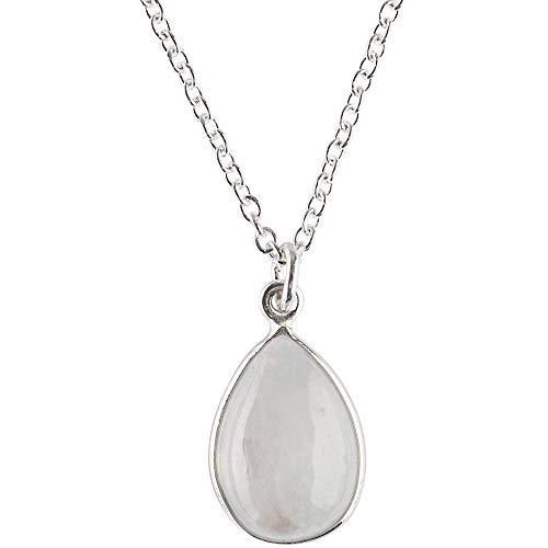 Züssi Simply Mondstein Halskette Damen aus reinem 925 Sterling Silber - Echter Mondstein Edelstein Schmuck - Damen Halskette in Tropfenform